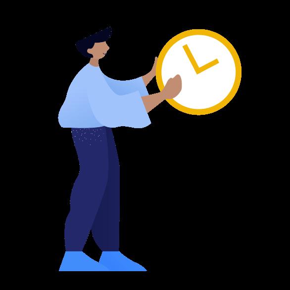 illustration of man and clock