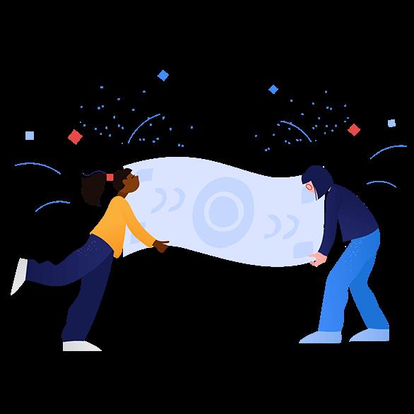 illustration of people holding money